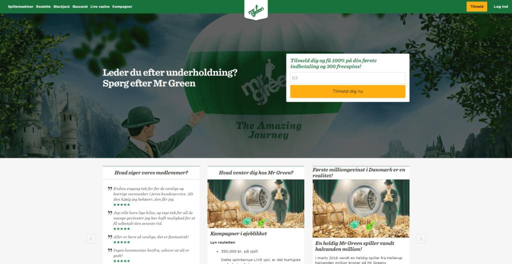 Screenshot af Mr Green forside på deres hjemmeside