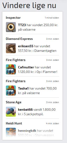 Vindere lige nu hos spilnu.dk